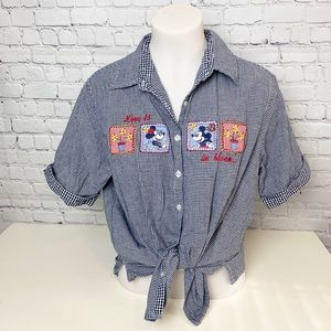 Vintage Disney Mickey Embroidered Gingham Top